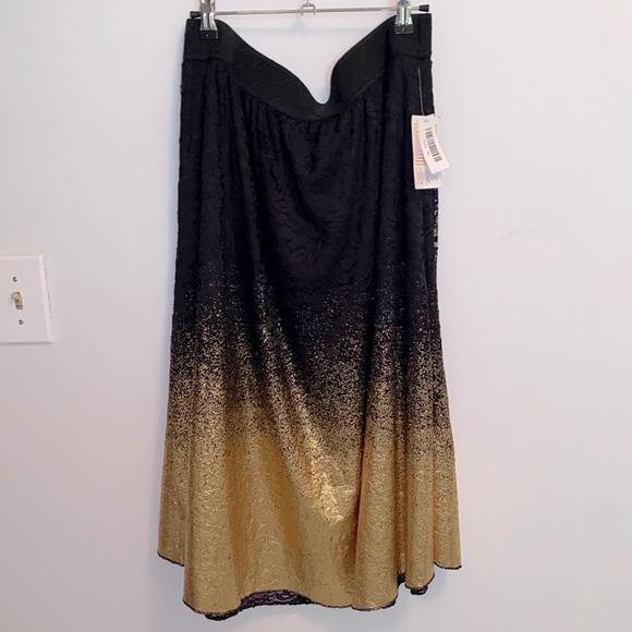 Black lace gold dipped midi Lola skirt